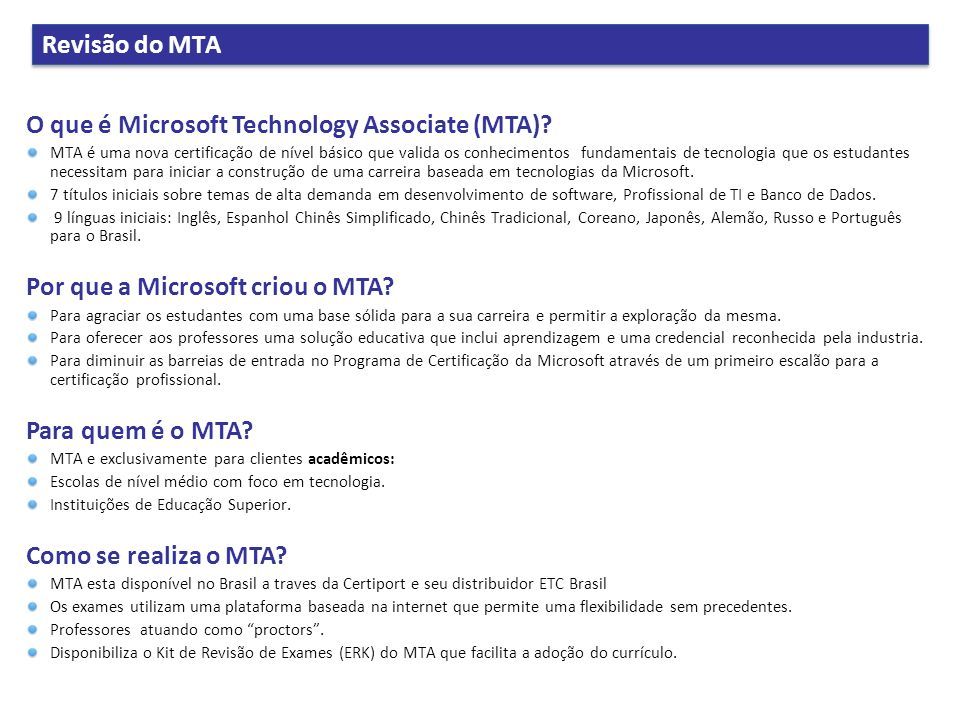 O que é Microsoft Technology Associate (MTA)