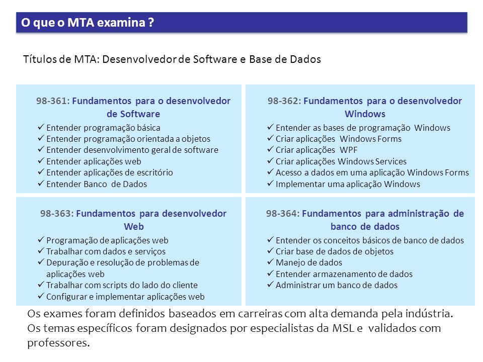 O que o MTA examina Títulos de MTA: Desenvolvedor de Software e Base de Dados. 98-361: Fundamentos para o desenvolvedor de Software.