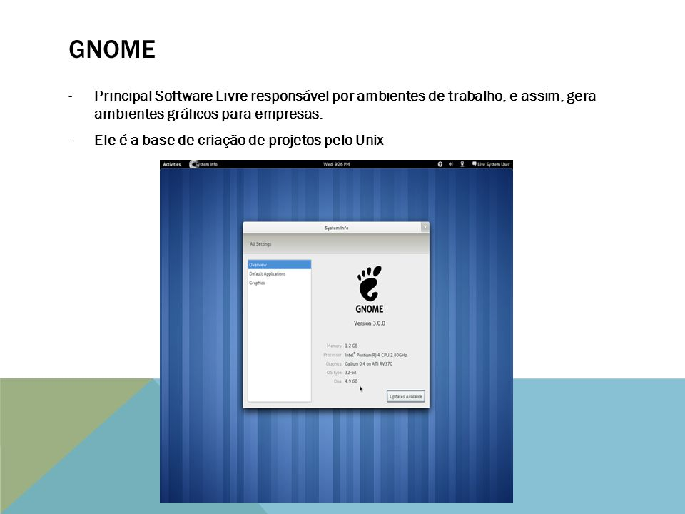 GNOME Principal Software Livre responsável por ambientes de trabalho, e assim, gera ambientes gráficos para empresas.
