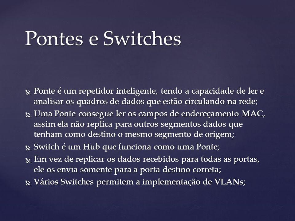 Pontes e Switches Ponte é um repetidor inteligente, tendo a capacidade de ler e analisar os quadros de dados que estão circulando na rede;
