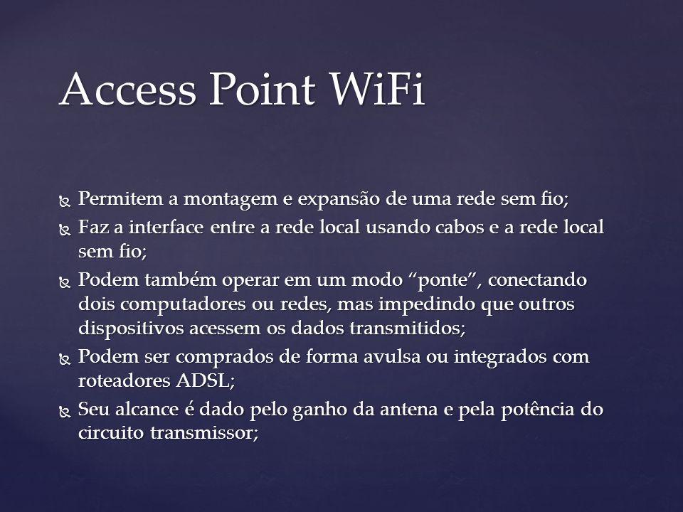 Access Point WiFi Permitem a montagem e expansão de uma rede sem fio;