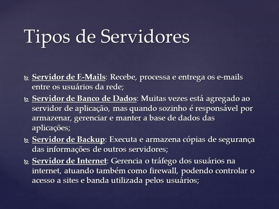 Tipos de Servidores Servidor de E-Mails: Recebe, processa e entrega os e-mails entre os usuários da rede;