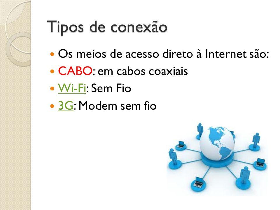 Tipos de conexão Os meios de acesso direto à Internet são: