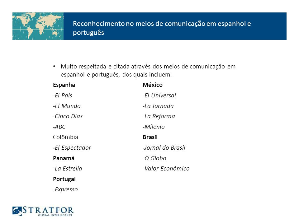 Reconhecimento no meios de comunicação em espanhol e português