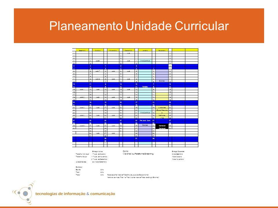 Planeamento Unidade Curricular