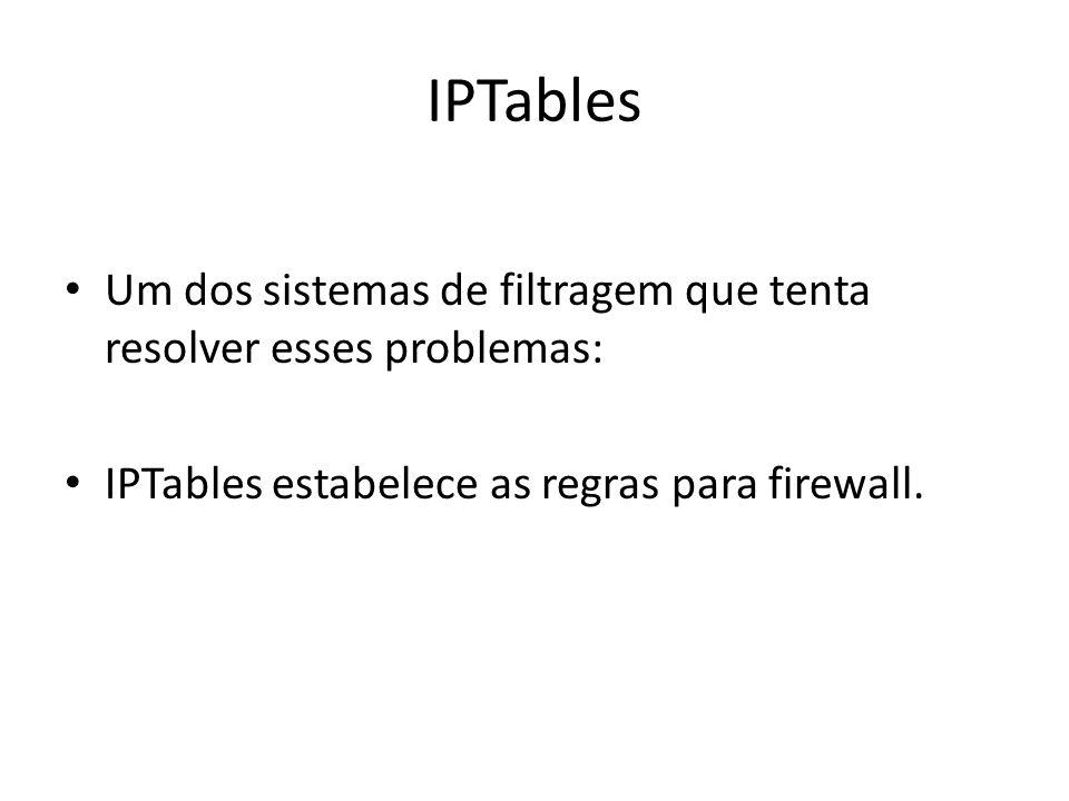 IPTables Um dos sistemas de filtragem que tenta resolver esses problemas: IPTables estabelece as regras para firewall.
