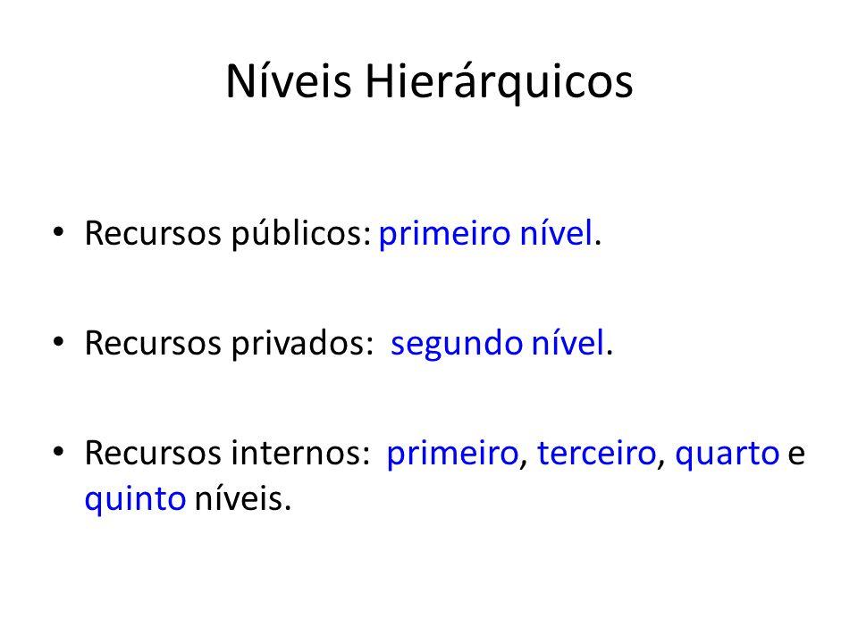 Níveis Hierárquicos Recursos públicos: primeiro nível.
