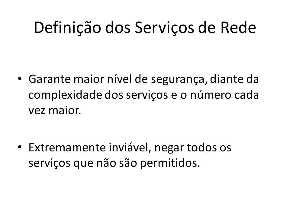 Definição dos Serviços de Rede