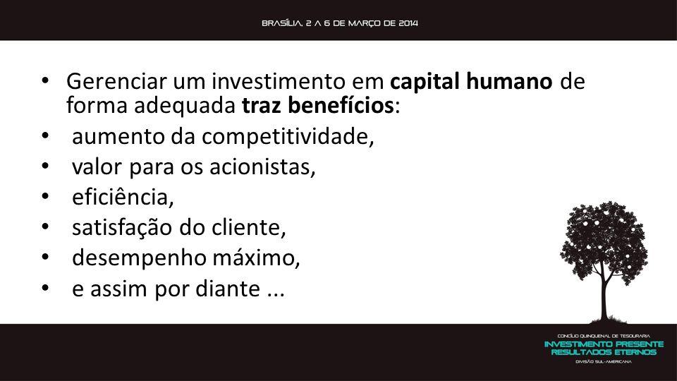 Gerenciar um investimento em capital humano de forma adequada traz benefícios: