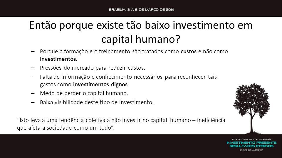 Então porque existe tão baixo investimento em capital humano