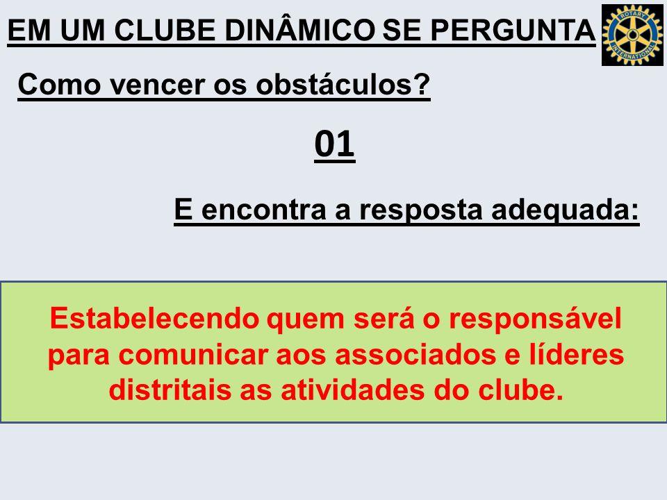01 EM UM CLUBE DINÂMICO SE PERGUNTA Como vencer os obstáculos