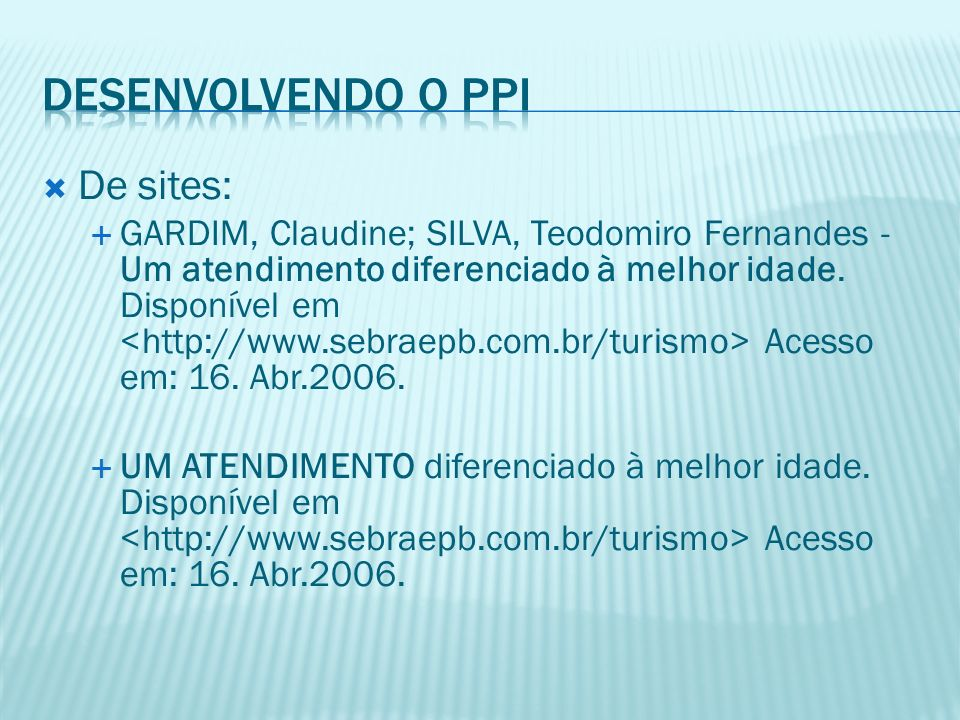 Desenvolvendo o PPI De sites:
