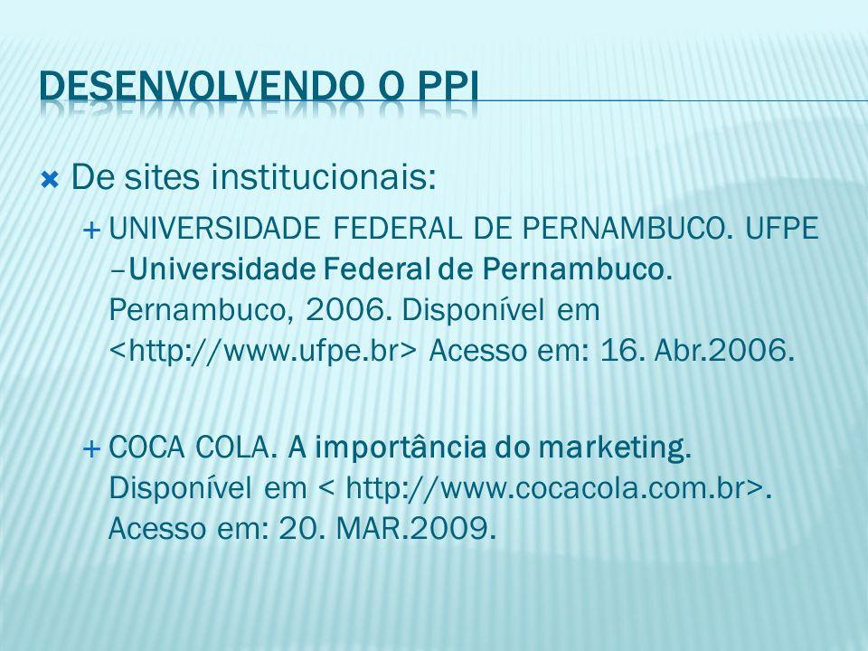Desenvolvendo o PPI De sites institucionais: