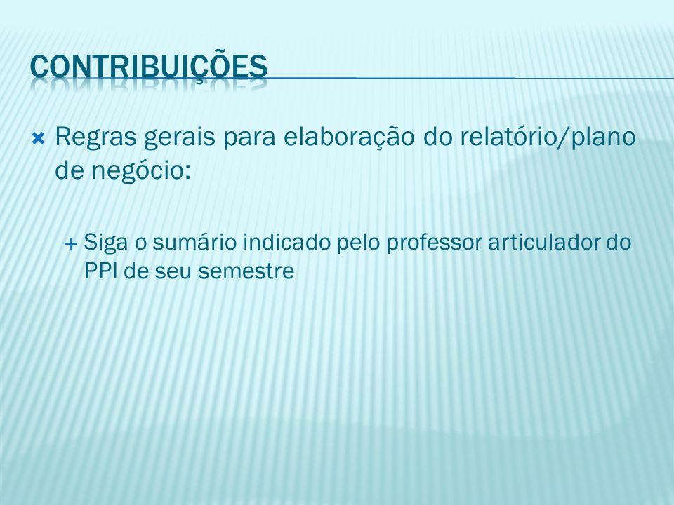 ContribuiçÕEs Regras gerais para elaboração do relatório/plano de negócio: Siga o sumário indicado pelo professor articulador do PPI de seu semestre.