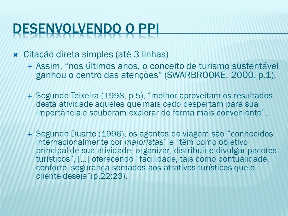 Desenvolvendo o PPI Citação direta simples (até 3 linhas)
