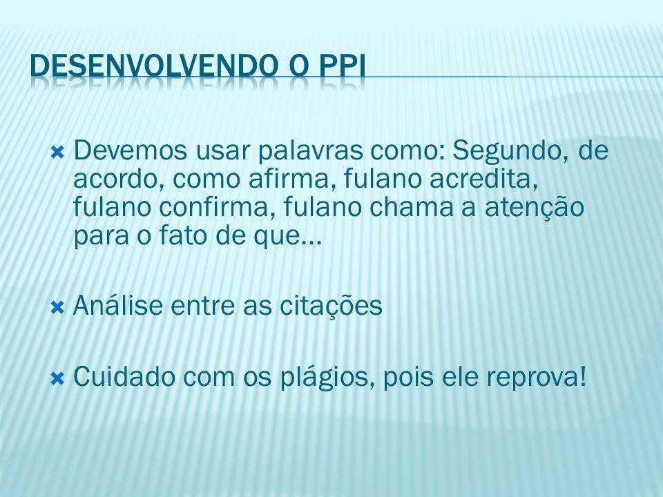 Desenvolvendo o PPI