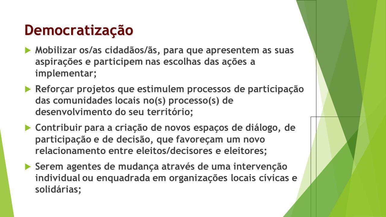 Democratização Mobilizar os/as cidadãos/ãs, para que apresentem as suas aspirações e participem nas escolhas das ações a implementar;