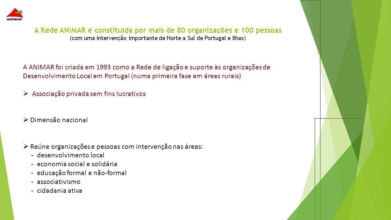 A Rede ANIMAR é constituída por mais de 80 organizações e 100 pessoas (com uma intervenção importante de Norte a Sul de Portugal e Ilhas)