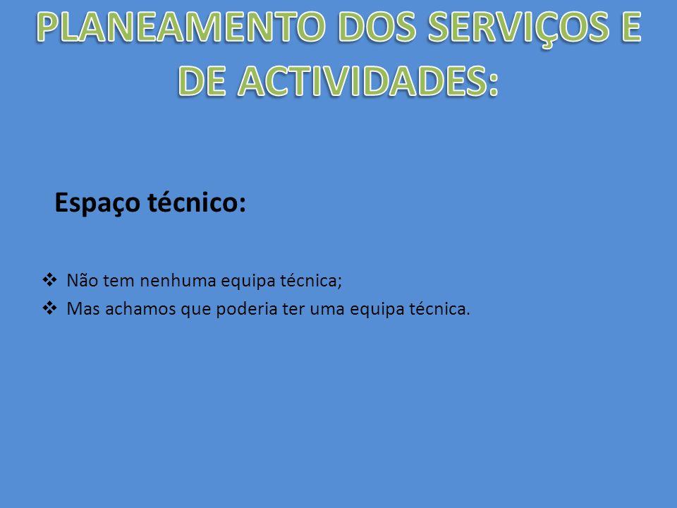 PLANEAMENTO DOS SERVIÇOS E DE ACTIVIDADES: