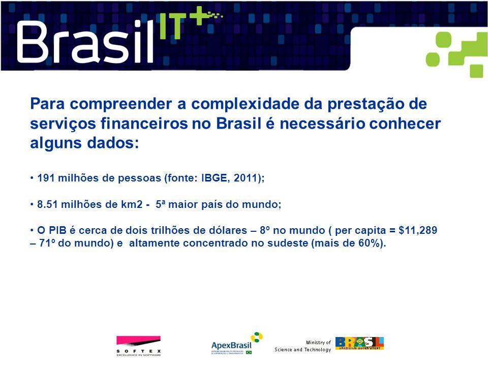 Para compreender a complexidade da prestação de serviços financeiros no Brasil é necessário conhecer alguns dados: