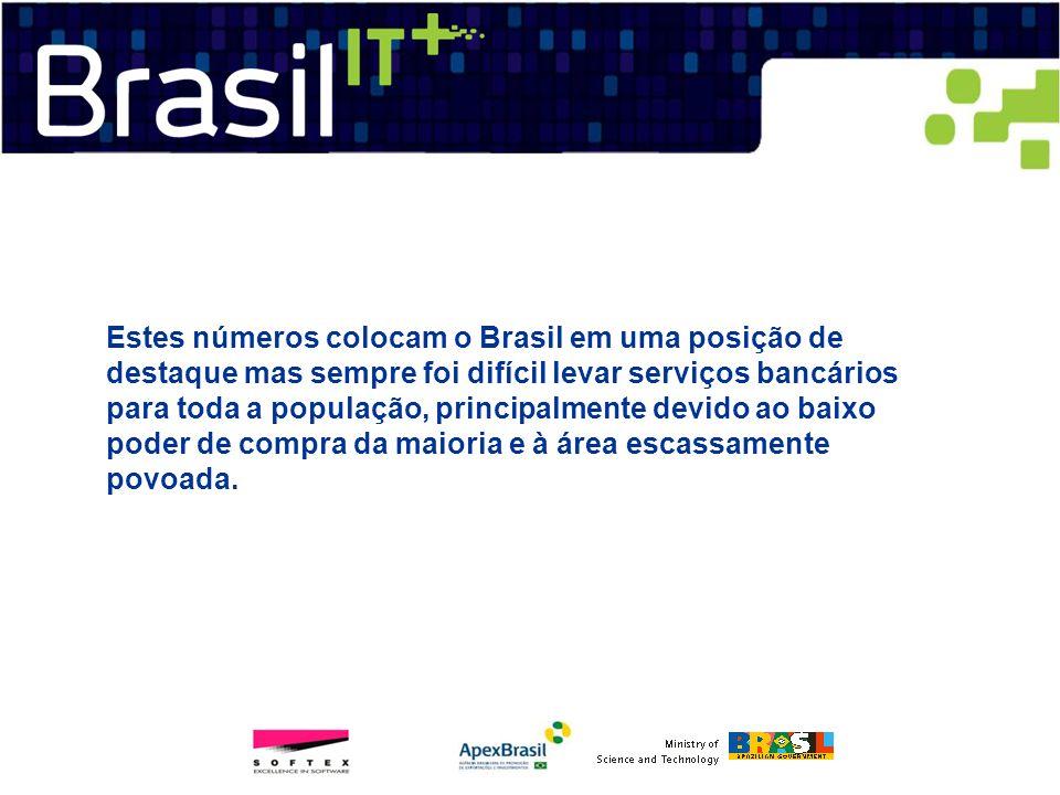 Estes números colocam o Brasil em uma posição de destaque mas sempre foi difícil levar serviços bancários para toda a população, principalmente devido ao baixo poder de compra da maioria e à área escassamente povoada.