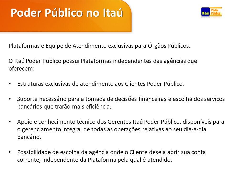 Poder Público no Itaú Plataformas e Equipe de Atendimento exclusivas para Órgãos Públicos.