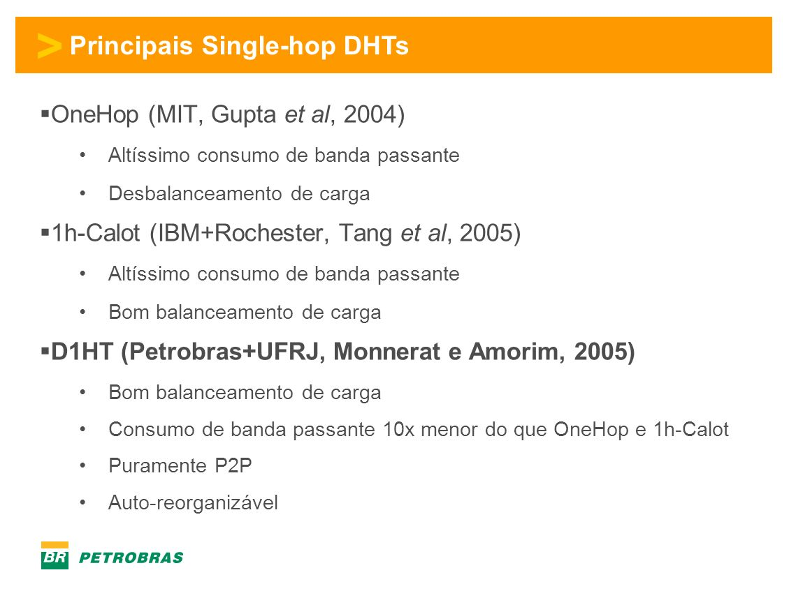 Principais Single-hop DHTs
