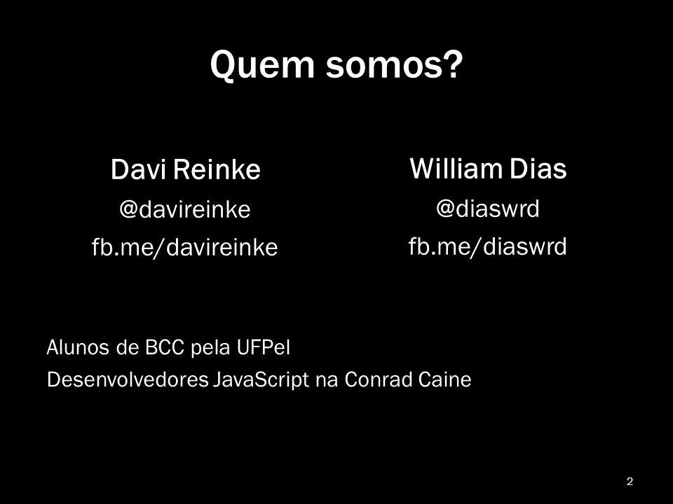 Quem somos Davi Reinke William Dias @davireinke fb.me/davireinke