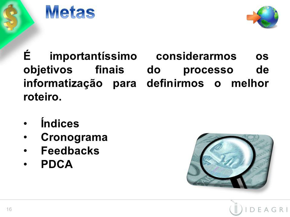Metas É importantíssimo considerarmos os objetivos finais do processo de informatização para definirmos o melhor roteiro.
