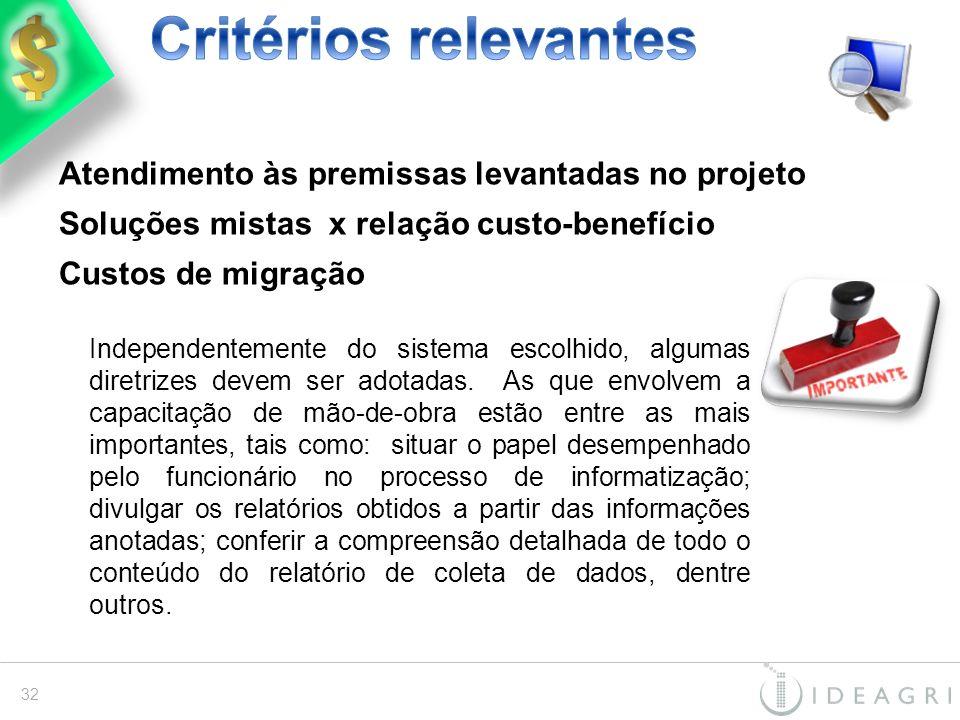 Critérios relevantes Atendimento às premissas levantadas no projeto