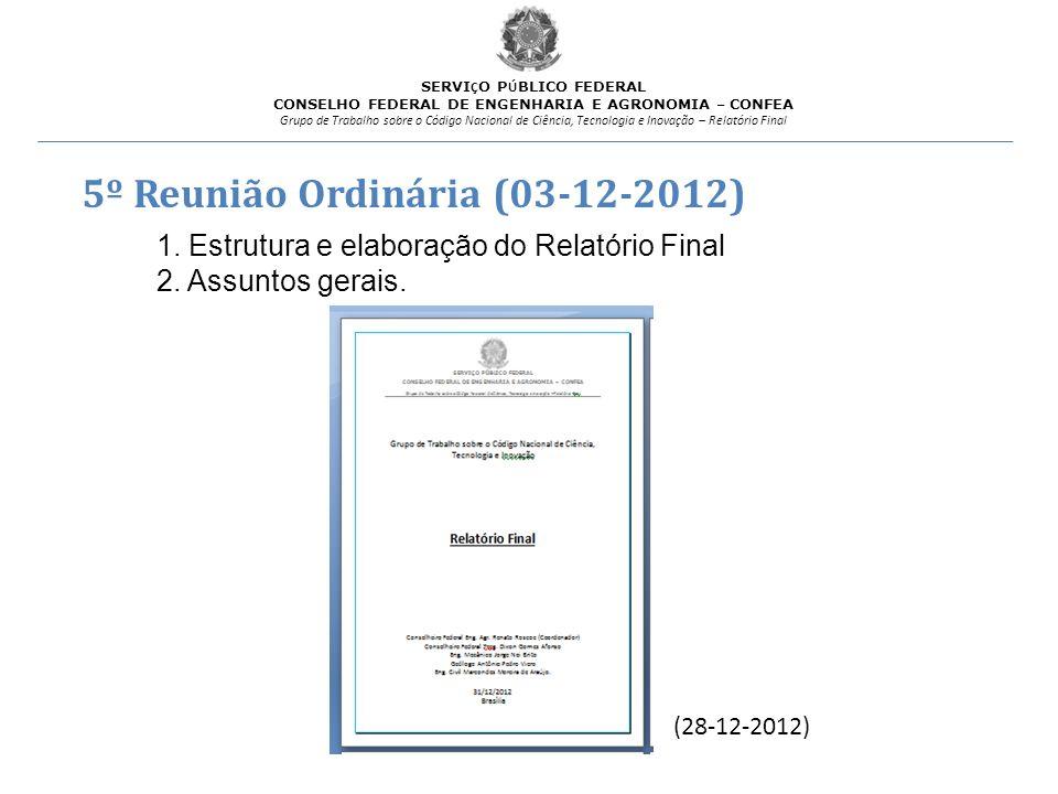 5º Reunião Ordinária (03-12-2012)