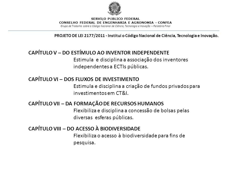 CAPÍTULO V – DO ESTÍMULO AO INVENTOR INDEPENDENTE