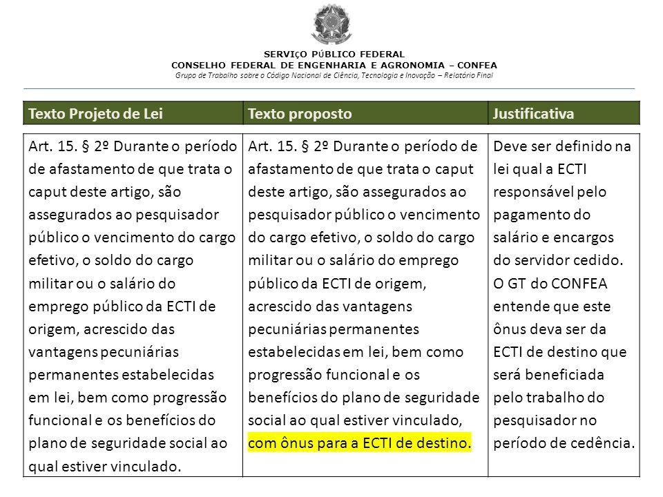 Texto Projeto de Lei Texto proposto Justificativa