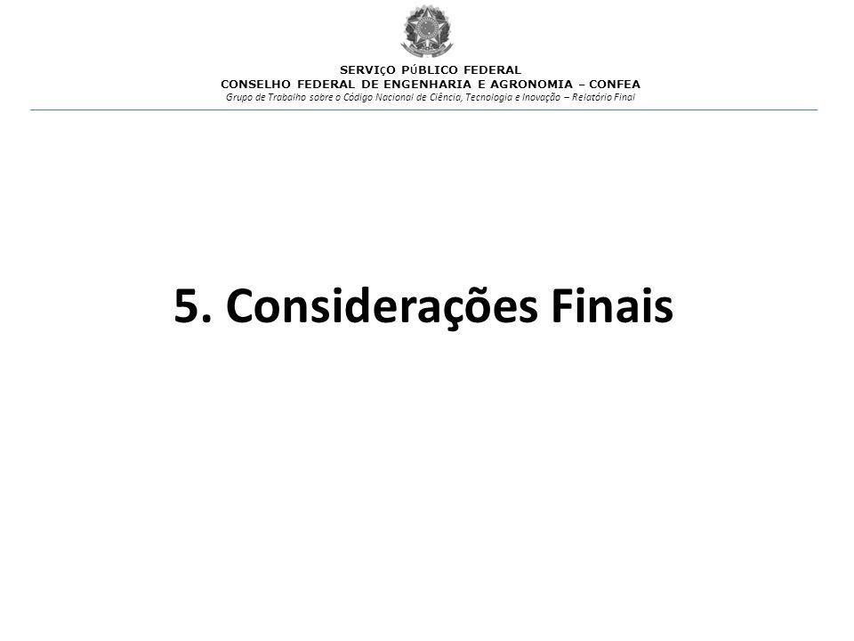 5. Considerações Finais SERVIÇO PÚBLICO FEDERAL