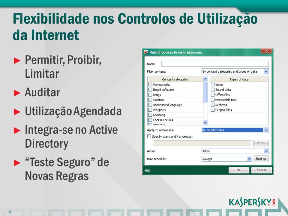 Flexibilidade nos Controlos de Utilização da Internet
