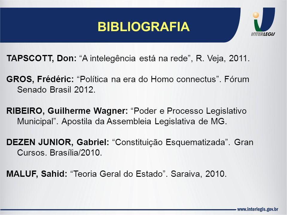 BIBLIOGRAFIA TAPSCOTT, Don: A intelegência está na rede , R. Veja, 2011. GROS, Frédéric: Política na era do Homo connectus . Fórum.