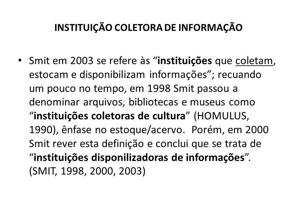 INSTITUIÇÃO COLETORA DE INFORMAÇÃO