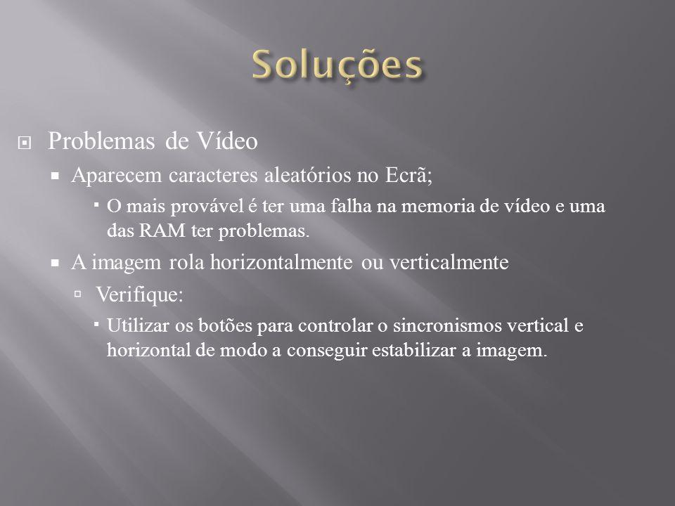 Soluções Problemas de Vídeo Aparecem caracteres aleatórios no Ecrã;