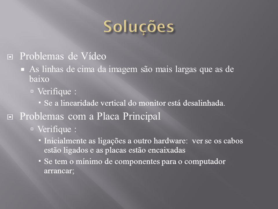 Soluções Problemas de Vídeo Problemas com a Placa Principal
