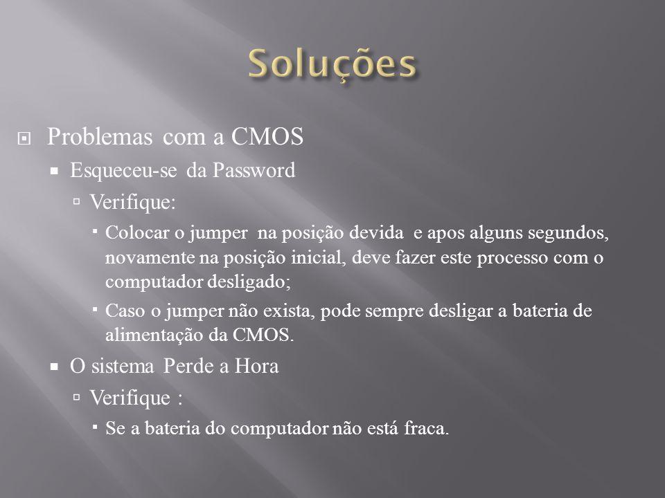 Soluções Problemas com a CMOS Esqueceu-se da Password Verifique: