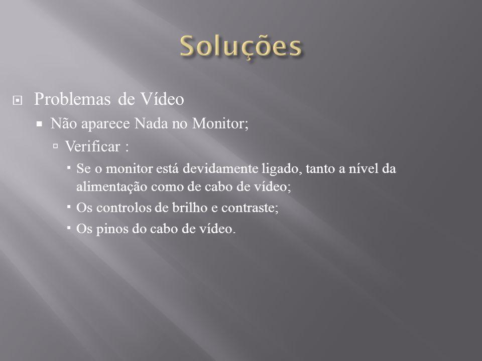 Soluções Problemas de Vídeo Não aparece Nada no Monitor; Verificar :