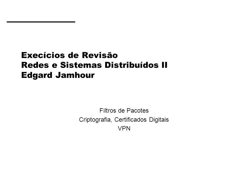 Execícios de Revisão Redes e Sistemas Distribuídos II Edgard Jamhour