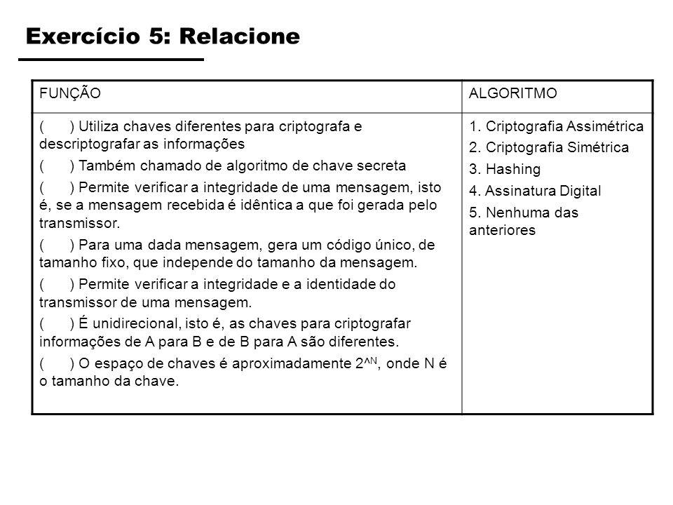 Exercício 5: Relacione FUNÇÃO ALGORITMO