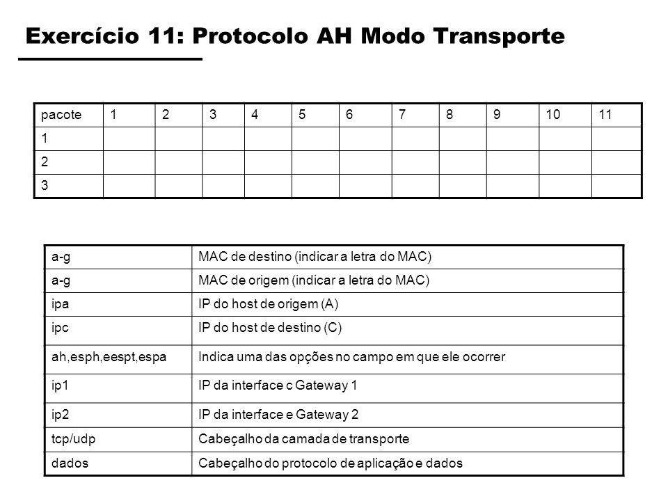 Exercício 11: Protocolo AH Modo Transporte