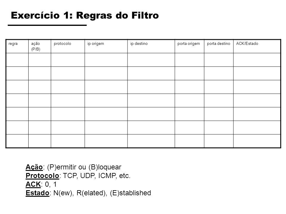 Exercício 1: Regras do Filtro