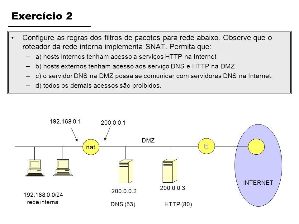 Exercício 2 Configure as regras dos filtros de pacotes para rede abaixo. Observe que o roteador da rede interna implementa SNAT. Permita que: