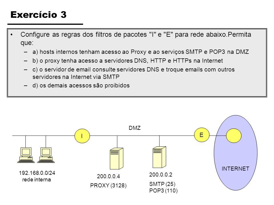 Exercício 3 Configure as regras dos filtros de pacotes I e E para rede abaixo.Permita que: