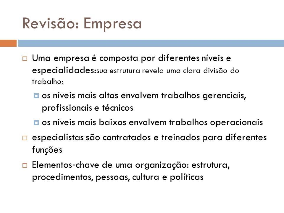 Revisão: Empresa Uma empresa é composta por diferentes níveis e especialidades:sua estrutura revela uma clara divisão do trabalho: