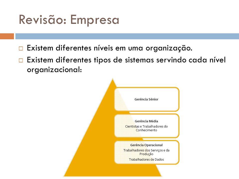 Revisão: Empresa Existem diferentes níveis em uma organização.
