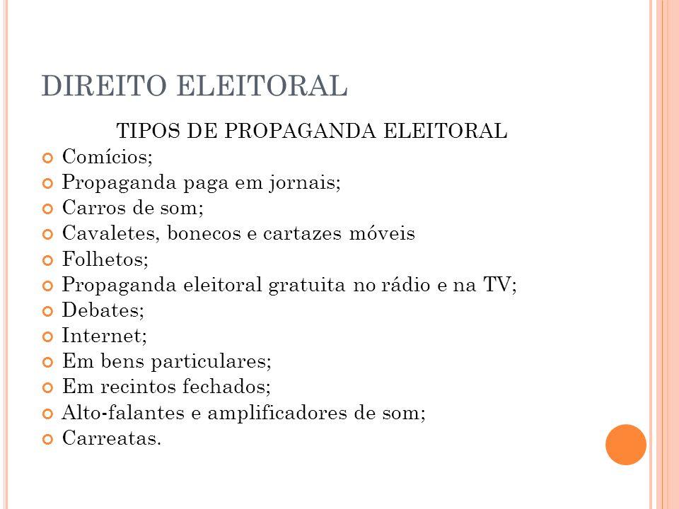 TIPOS DE PROPAGANDA ELEITORAL